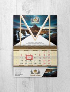 календарь 3/4 на пружинке с изображением